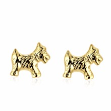 2016 New Fashion Gold Color Women's Jewelry Fashion Cute Tiny Puppy Dog Stud Earrings Gift For School Girls Kids Lady