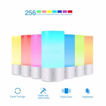 Lumiparty LED Touch Sensor Table Light Bedside Lamp Dimmable 256 RGB Color Changing Aluminum Base Illumination Mood Night Light