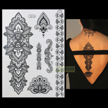 1PC Fashion Flash Waterproof Tattoo Women Black Henna Jewel Sexy Lace BJ016 Flower Totem Arm Body Art Temporary Tattoo Sticker(China)
