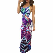 Women Summer Dresses 2017 Beach Casual Style Halter Backless Multicolors Geometric Pattern Boho Style Long Maxi Dress with Slit
