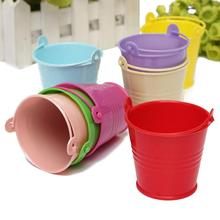 1 Pc Cute Mini Metal Candy Bucket Wedding Party Favors DIY Boxes Garden Kitchen Water Container 9 Colors(China)