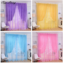 Curtain 200x100cm Fashion Rose Tulle Window Screens Door Balcony Curtain Panel Sheer Hollow Solid Curtain Wholesale D6
