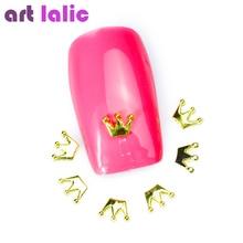 Книги по искусству лалич 10 шт. Новый Золотой Металл Корона Дизайн ногтей украшения DIY Красота Jewelry 3D Дизайн сплава ногтей Аксессуары(China)