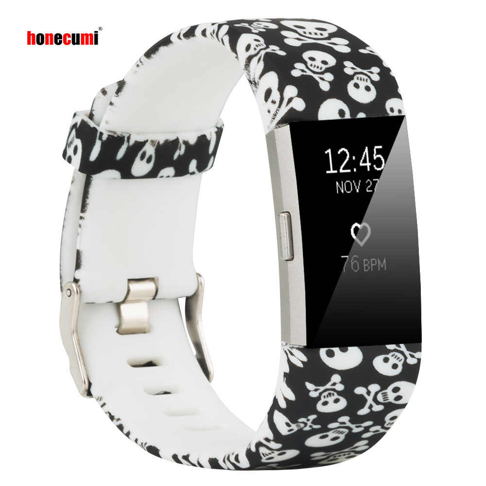 Honecumi Smart Watch Band for Fitbit Charge 2 Skull Pattern Soft Silicone Wrist Strap for Fitbit Charge 2 Accessories Men Women