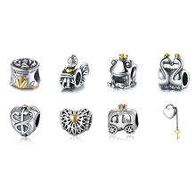 Hot Sale 925 Sterling Silver Bead Charm 8 Style Fashion Beads Fit DIY Women Pandora Bracelets & Bangles