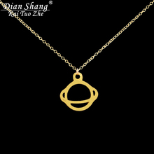 DIANSHANGKAITUOZHE Gold Chains For Men Stainless Steel Collar Silver Skyrim Pendant Choker Space Saturn Necklaces For Women