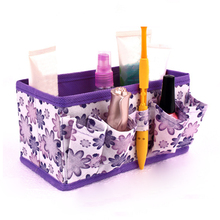 6Grids Capacity Foldable Multifunction Make Up Cosmetics Storage Box Container Bag Dresser Desktop Cosmetic Makeup Organizer