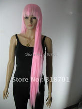 free shipping> Beautiful long straight pink hair cosplay party Wig