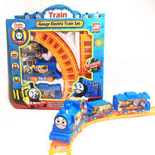 The children's birthday gift Thomas small locomotive installed electric rail racing simulation toy boy toy electric train track(China)
