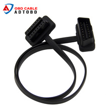 Flat Thin As Noodle OBDII OBD2 16Pin ELM327 Male To Female Elbow Extension OBD 2 Auto Car Diagnostic Cable Connector Adapter