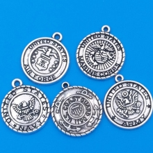 MIXED 30pcs Alloy Metal United States Military Collection Charms Army Navy Marine Corps Air Force Coast Guard Pendant(China)