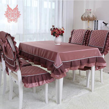 Free Shipping luxury European style Table Cloth dark red with lace patchwork Dining Table Cover Kitchen Home decor outdoorSP1106