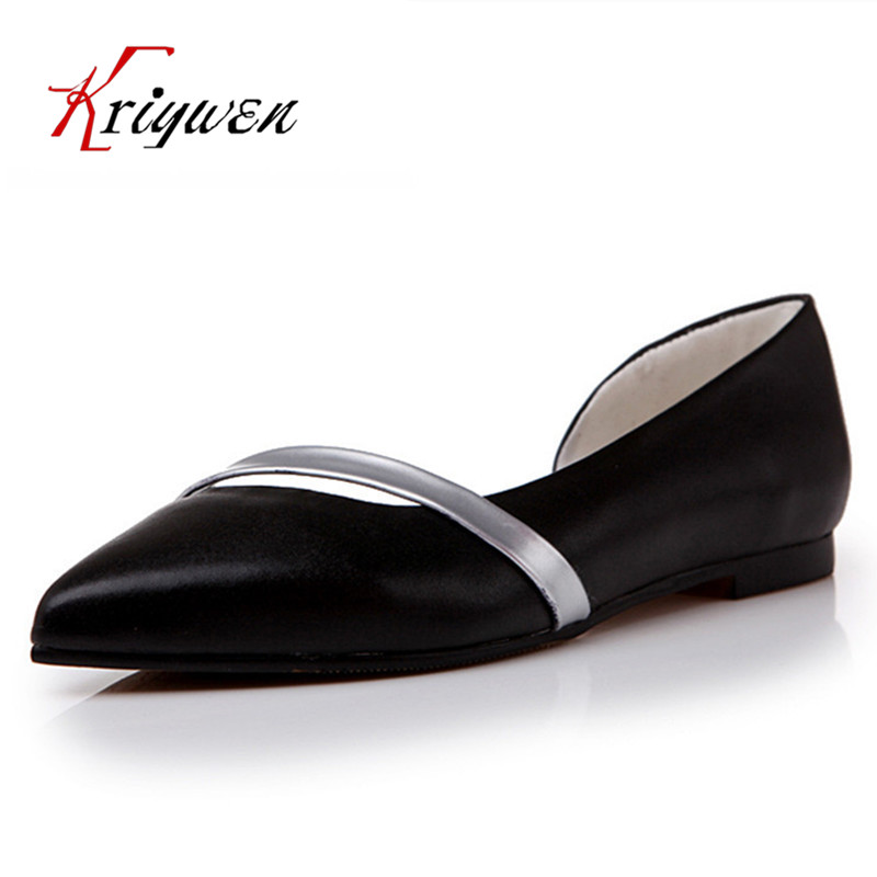 Plus size 34-44 New Dorsay Flats 2016 Women Genuine soft Leather Flats Ladies Casual Shoes Fashion Woman Pointed toe shoes<br><br>Aliexpress