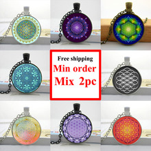 2016 Flower of Life Necklace Flower of Life Pendant Mandala Jewelry Glass Dome Pendant Necklace HZ1