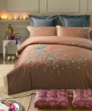 Fast shipping 100% cotton brown embroidery bedding set duvet cover flat sheet pillowcase /bed linen/quilt cover suite(QX10.4.1)