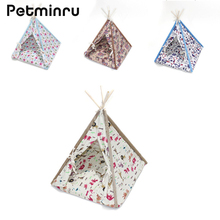 Petminru Detachable Wooden Pet Tent Dog house Foldable Pet House Kennel Cat Bed With Mats(China)