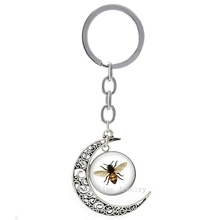 Cute interesting Bee photo moon pendant keychain lass cabochon Vintage Bee insect animal key chains lovely key ring gifts T182(China)