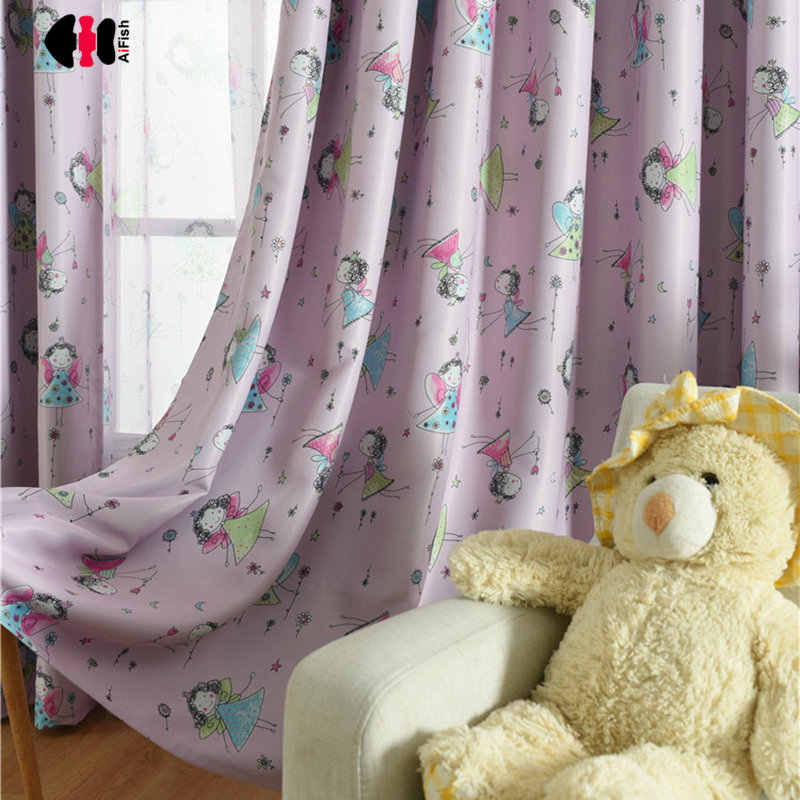 Cartoon Angel Printed Curtains for Children's Room Cute Girl Baby Princess Kindergarten Nursery Blackout Bay Window Drapes JS18C