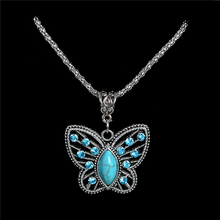 Wholesale Antique Silver Pendant Necklace Crystal Butterfly Natural Stone Long Necklace Sweater Chain TL186 FREE SHIPPING(China)