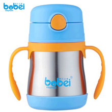 Bobei Baby Insulation Cup Thermos Bottles Stainless Steel Solid Small Baby Drinking Water Bottle With Straw Handle Free Shipping(China)
