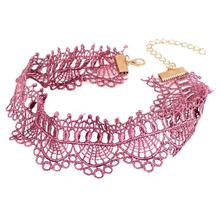 High Quality Crochet Black Pink Lace Choker Necklace Personality Women Collar Jewelry Vintage Collares Necklace for Party Gift
