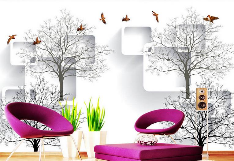 Custom Photo Wallpaper High Quality Simple Modern style 3d wall murals Abstract tree bird wallpaper for kids room home decor<br>