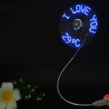 Centechia Mini USB Fan Gadgets Gooseneck LED Light USB Cooling Flashing Temperature Display Fan for PC Lap Notebook Desk