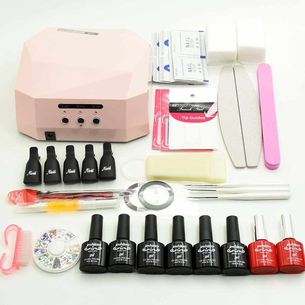 6 Color UV Gel Polish Nail Sets 36W UV Lamp NAIL Art Sets Base Gel Top Coat Nail Gel Varnishes Nail Tools Manicure Set &amp; Kits<br>