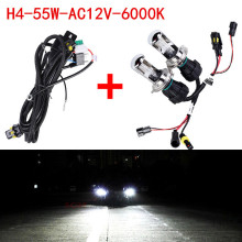 2X Bi Xenon 55W H4 12V AC HID Automotive Headlight Replacement Bulbs H4-3 BiXenon Hi/Lo Beam Lamp only bulb + wire Free Shipping