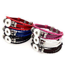 Buy Fashion SE0079 Simple Colorful Leather snap Bracelet bangle 21CM fit 18MM snap buttons jewelry for $1.04 in AliExpress store
