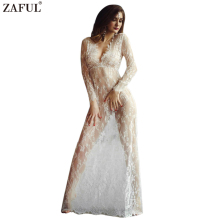 ZAFUL Women Sexy Lace Embroidery Maxi White Floor-length dress Deep V Long Sleeves feminino vestidos Long smock crochet Dress
