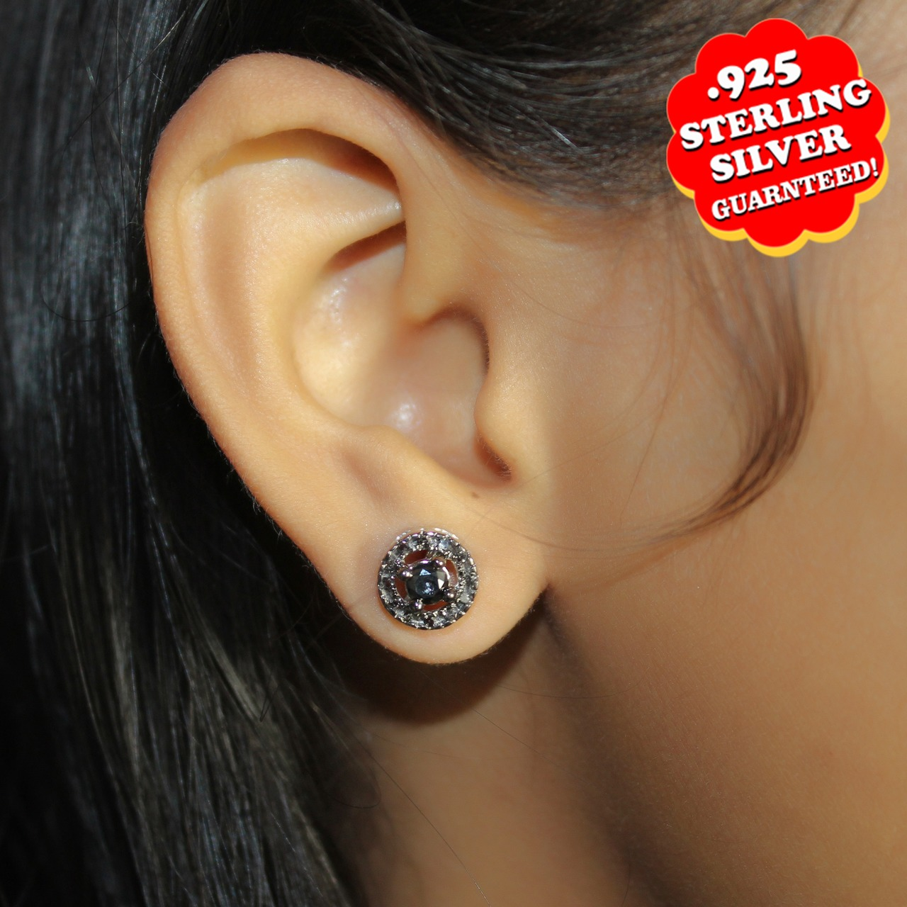 14K White Gold Over Silver 0.48Ct Round Black Real Diamond Halo Stud Earrings