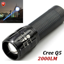 1pcs Highlighted 2000 Lumens 3-Mode CREE LED Military Laser LED Flashlight Zoomable Focus Torch Free shipping(China)