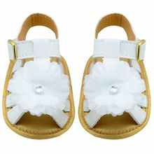 New Arrival Summer Infant Toddler Soft Sole Kid Girls Princess Sandals Anti-Slip Flower White Baby Shoes