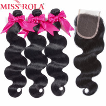 Miss Rola Hair Pre-colored Brazilian Hair Body Wave 3 Bundles 100% Human Hair with Closure #1b Nature Black Free Shipping(China)