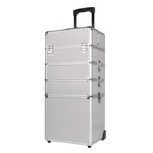 (Ship from UK) 5 in 1 Hairdressing Makeup Beauty Case Nail Art Box Cosmetics Trolley case with wheels