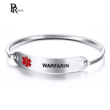 "Engraved WARFARIN Medical Alert Cuff Bangle for Women 316l Stainless Steel ID Bracelet 7.5""(China)"