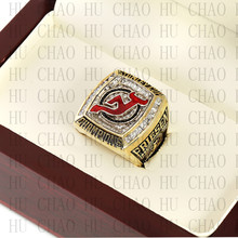 Team Logo wooden Case 2003 New Jersey Devils NHL Hockey Stanely Cup Championship Ring 10-13 Size solid back