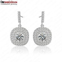 LZESHINE 2016 Classic Round Wedding Bands Stud Earrings Silver Color Elegant Drop Women Earrings CER0052-B(China)