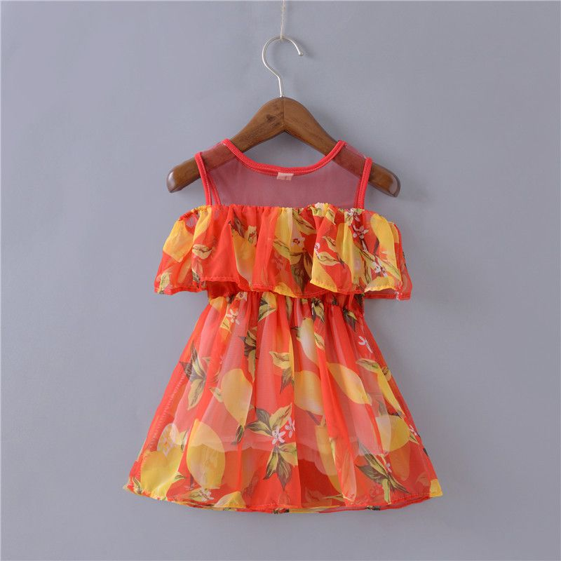 Summer Cute Lemon Print Off Shoulder Above Knee Vestidos roupas infantis menina Girls Clothes Girl Dress <br><br>Aliexpress