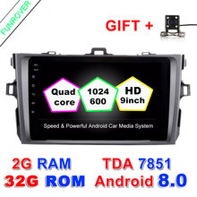 2 Din Android 8.0 car dvd autoradio gps navigation 8inch Steering wheel controls For Toyota corolla 2007~2011 in dash navi RDS(China)