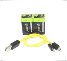 2pcs/lot New product USB 9V Rechargeable lithium battery 400mah long life bring USB charging port Replace 6F22/6LR61