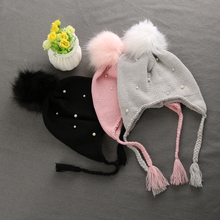 1PC Lovely Winter Knitted Hats for Children Boys Girls Cute Fur Ball Winter Hat Knitted Cap Kids Warm Knitted Ears Beanie Hat(China)