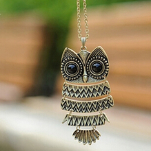 New Brand Fashion Charms Crystal Owl Necklace Gem Cubic Zircon Gold Long Chain Necklaces&Pendants Women Gift