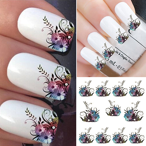 2017 Diy Vines Flower Water Transfer Nail Art Decals Tips Stickers