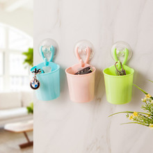 Colorful Plastic Storage Box with Sucker Wall Mounted Sundries Organizers Boxes Kitchen Bathroom Storage Holder Decoration