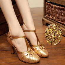 Latin dance shoes woman Ulticolored sequins Jazz Modern dancing shoes for women Outdoor Indoor General 8cm Awl heel PU pink Hot