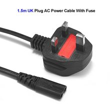 50pcs 3 Prong Main UK Plug Power Cable C7 Figure 8 AC Adapters British Power Cord 1.5m 5ft For Battery Chargers PSP 4