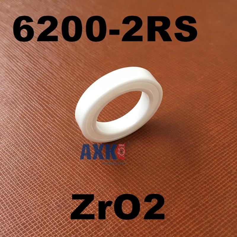 Free shipping 6200-2RS full ZrO2 ceramic deep groove ball bearing 10x30x9mm 6200 2RS P5 ABEC5 high qaulity by AXK<br>