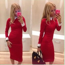 NEW arrival dress women causal summer soft nice long sleeve dress black red blue dinner sexy club dress lady fashion size L#E191